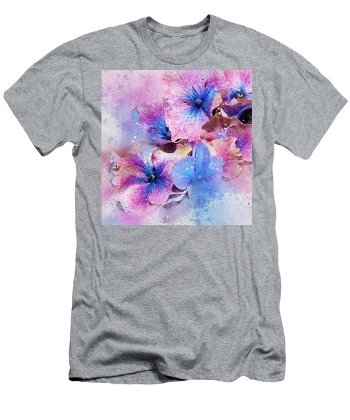 Blue And Purple Flowers Men's T-Shirt (Athletic Fit)