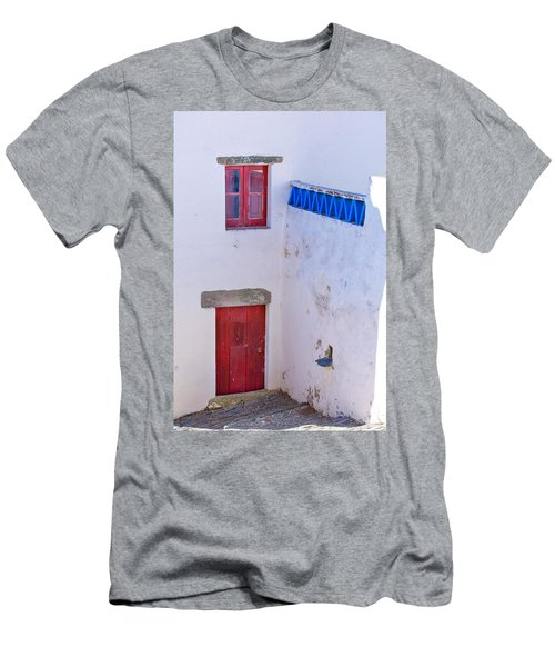 Blue And Red Men's T-Shirt (Slim Fit) by Edgar Laureano