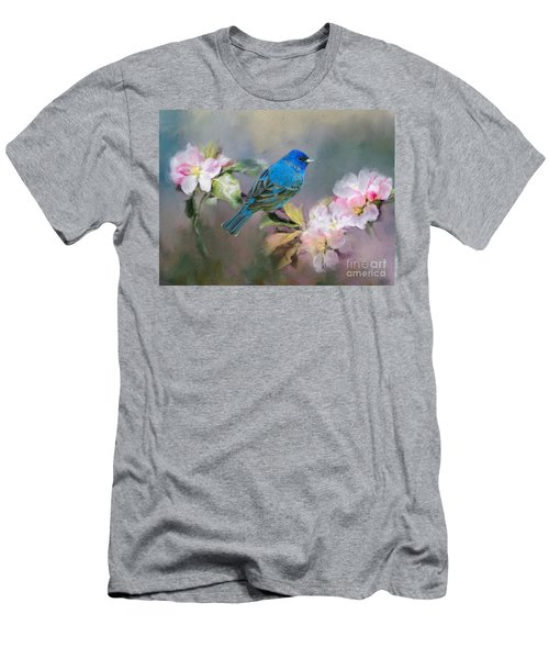 Blue Beauty In The Flowers Men's T-Shirt (Athletic Fit)