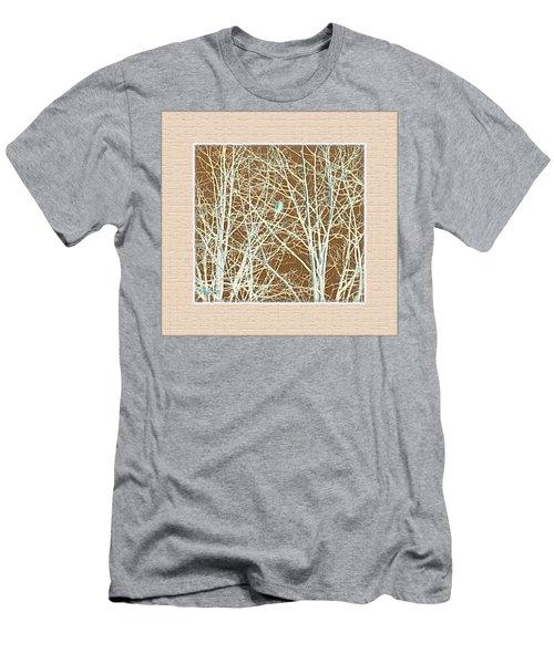 Blue Bird In Winter Tree Men's T-Shirt (Slim Fit) by Felipe Adan Lerma