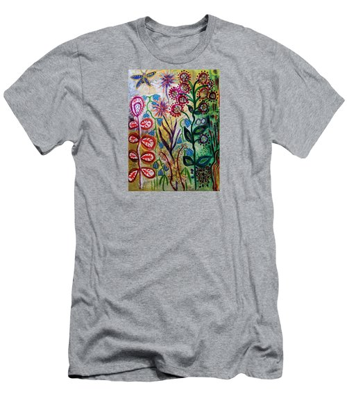 Men's T-Shirt (Slim Fit) featuring the mixed media Blue Bug In The Magic Garden by Mimulux patricia no No