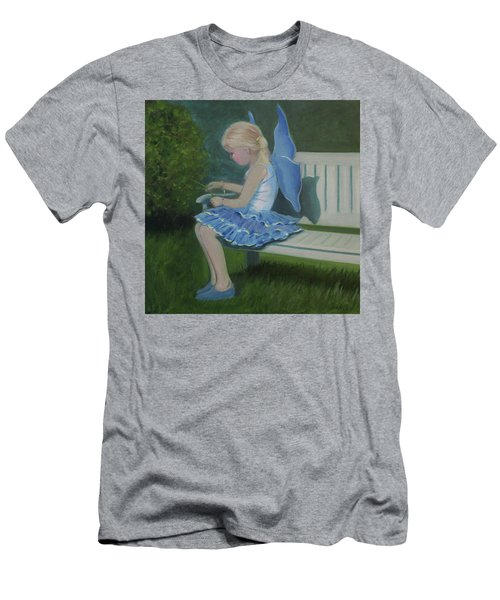 Blue Butterfly Girl Men's T-Shirt (Athletic Fit)