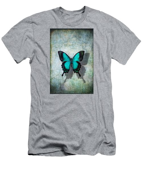 Blue Butterfly Resting Men's T-Shirt (Athletic Fit)