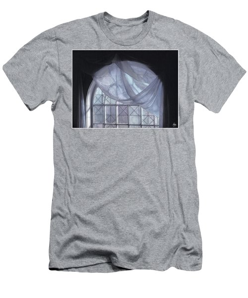 Men's T-Shirt (Athletic Fit) featuring the photograph Hand-painted Blue Curtain In An Arch Window by Wayne King
