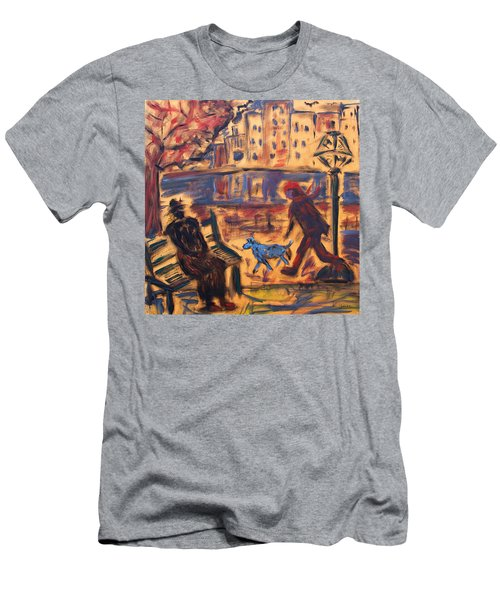 Blue Dog In The City Men's T-Shirt (Athletic Fit)