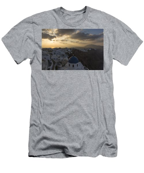 Men's T-Shirt (Slim Fit) featuring the tapestry - textile Blue Dome - Santorini by Kathy Adams Clark