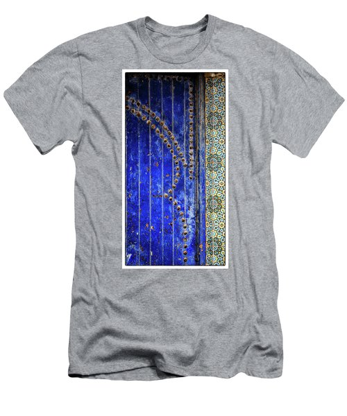 Men's T-Shirt (Slim Fit) featuring the photograph Blue Door In Marrakech by Marion McCristall