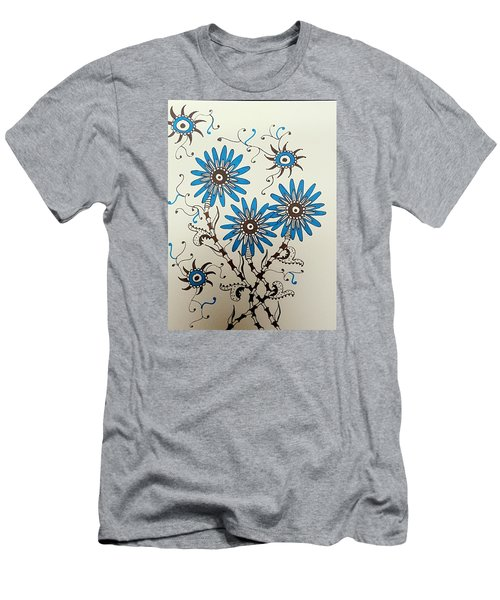 Blue Flowers 2 Men's T-Shirt (Athletic Fit)