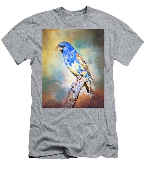 Blue Grosbeak Men's T-Shirt (Slim Fit) by Barbara Manis