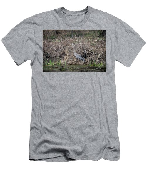 Men's T-Shirt (Slim Fit) featuring the photograph Blue Heron Stalking Dinner by David Bearden