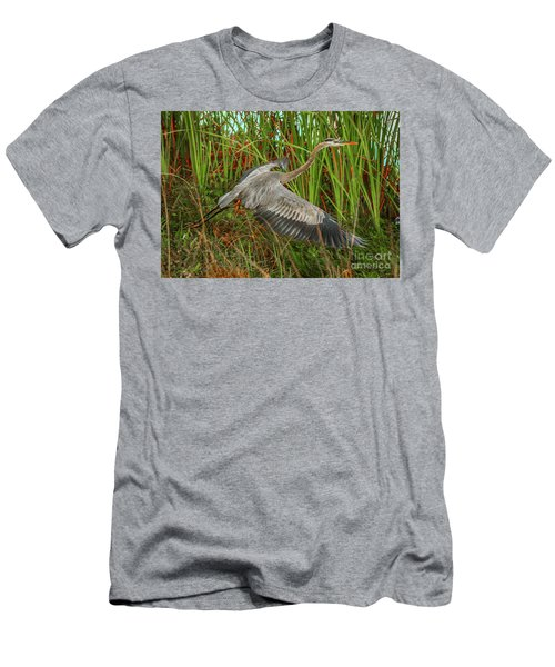 Blue Heron Take-off Men's T-Shirt (Slim Fit) by Tom Claud