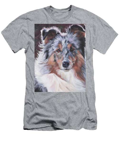 Men's T-Shirt (Slim Fit) featuring the painting Blue Merle Sheltie by Lee Ann Shepard