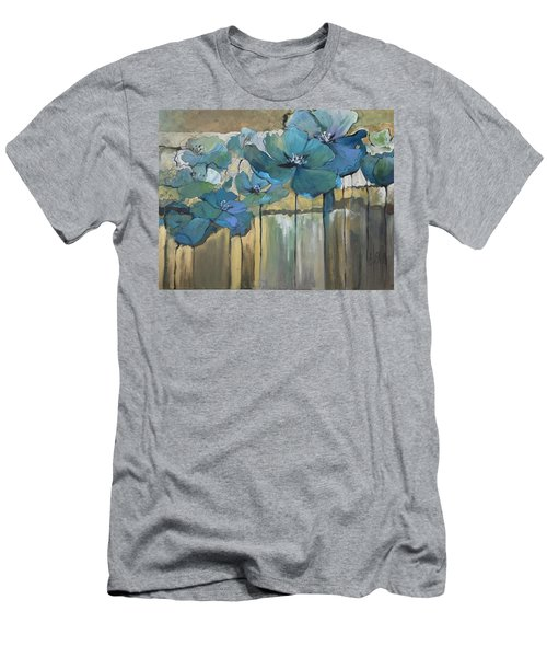 Men's T-Shirt (Slim Fit) featuring the painting Blue Poppies by Eleatta Diver