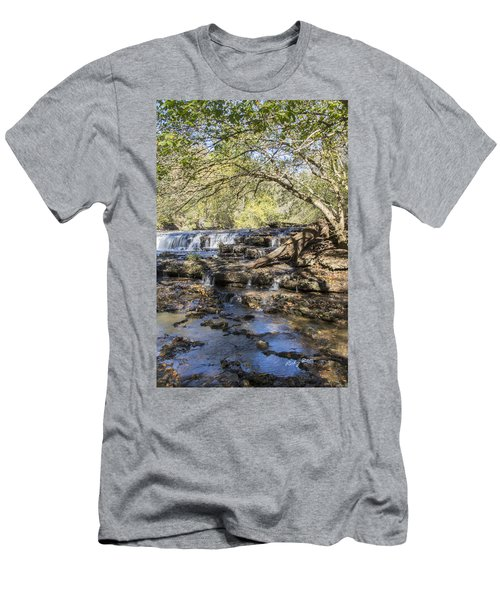 Blue Puddle Falls Men's T-Shirt (Slim Fit) by Ricky Dean