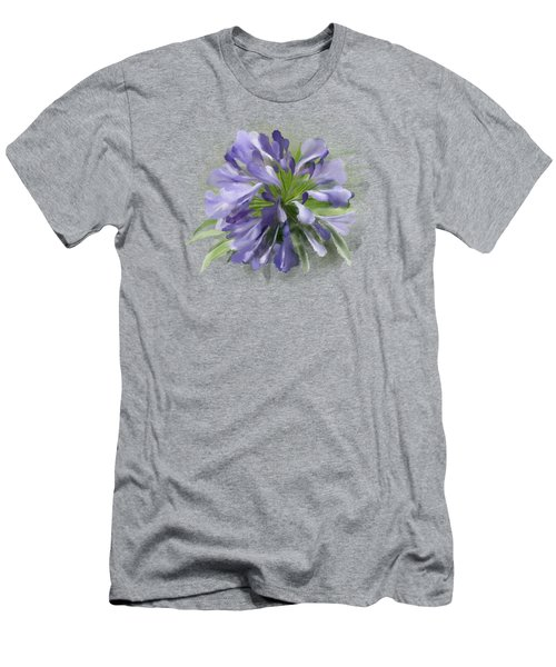 Blue Purple Flowers Men's T-Shirt (Slim Fit) by Ivana Westin