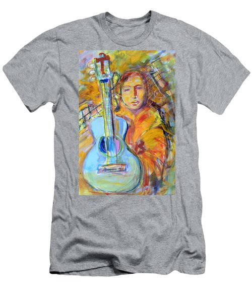 Men's T-Shirt (Slim Fit) featuring the painting Blue Quitar by Mary Schiros