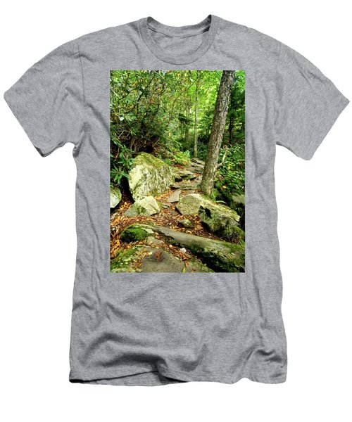 Men's T-Shirt (Slim Fit) featuring the photograph Blue Ridge Parkway Hiking Trail by Meta Gatschenberger