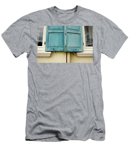 Men's T-Shirt (Slim Fit) featuring the photograph Blue Shutters Rudesheim by KG Thienemann