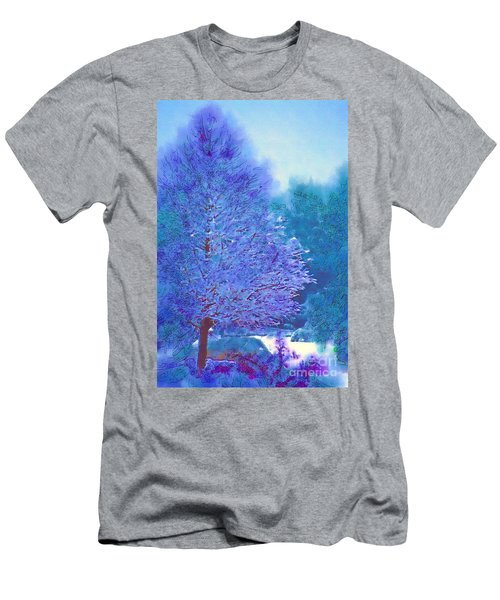 Men's T-Shirt (Athletic Fit) featuring the photograph Blue Snow Scene by Donna Bentley