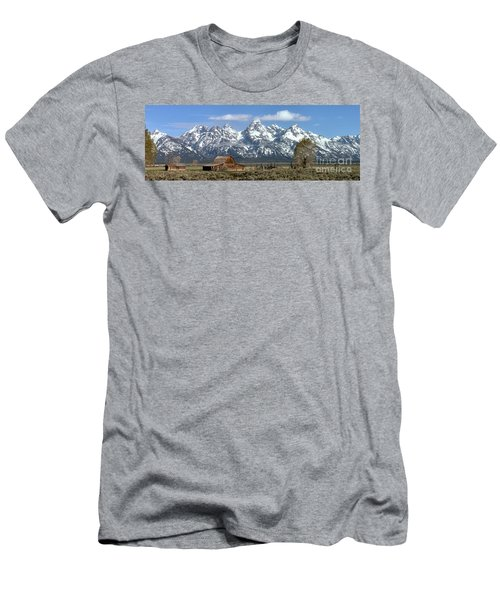 Blue Spring Skies Over Mormon Row Men's T-Shirt (Slim Fit) by Adam Jewell