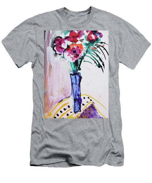 Blue Vase With Red Wild Flowers Men's T-Shirt (Athletic Fit)