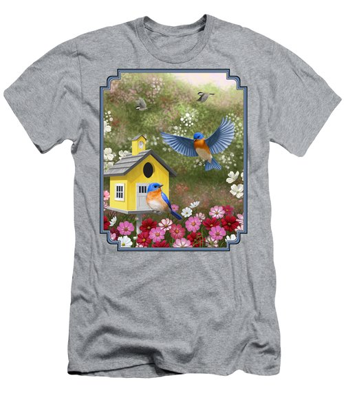 Bluebirds And Yellow Birdhouse Men's T-Shirt (Athletic Fit)