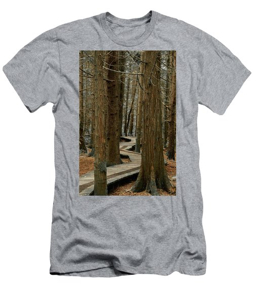 Men's T-Shirt (Slim Fit) featuring the photograph Boardwalk Among Trees by Scott Holmes