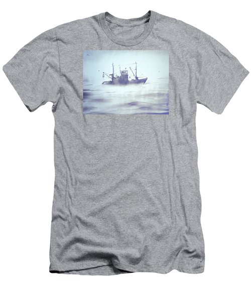Boat In The Foggy Sea Men's T-Shirt (Athletic Fit)