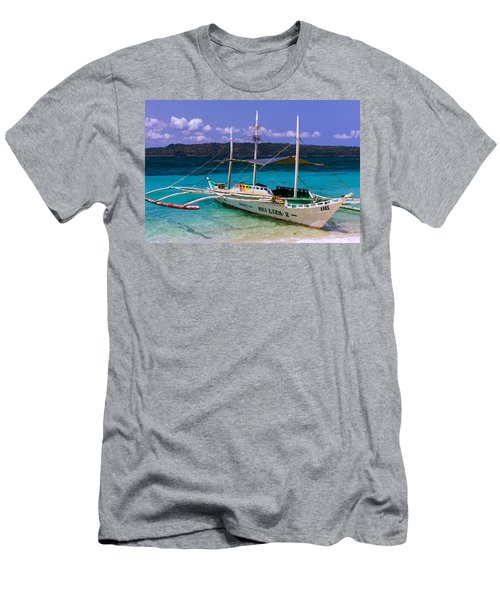 Boat On Puka Beach, Boracay Island, Philippines Men's T-Shirt (Athletic Fit)