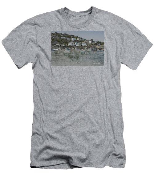 Boats At Looe Men's T-Shirt (Slim Fit) by Brian Roscorla