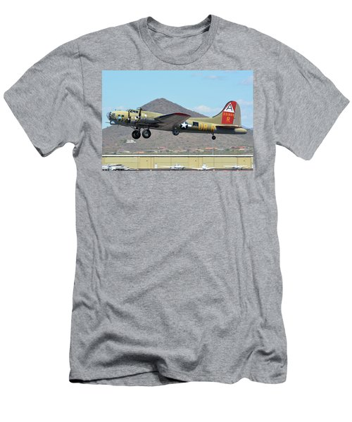 Men's T-Shirt (Slim Fit) featuring the photograph Boeing B-17g Flying Fortress N93012 Nine-o-nine Deer Valley Arizona April 13 2016 by Brian Lockett