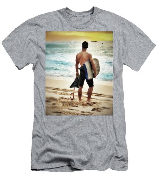 Men's T-Shirt (Slim Fit) featuring the photograph Boggie Boarder At Waimea Bay by Jim Albritton