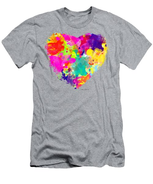 Bold Watercolor Heart - Tee Shirt Design Men's T-Shirt (Slim Fit) by Debbie Portwood