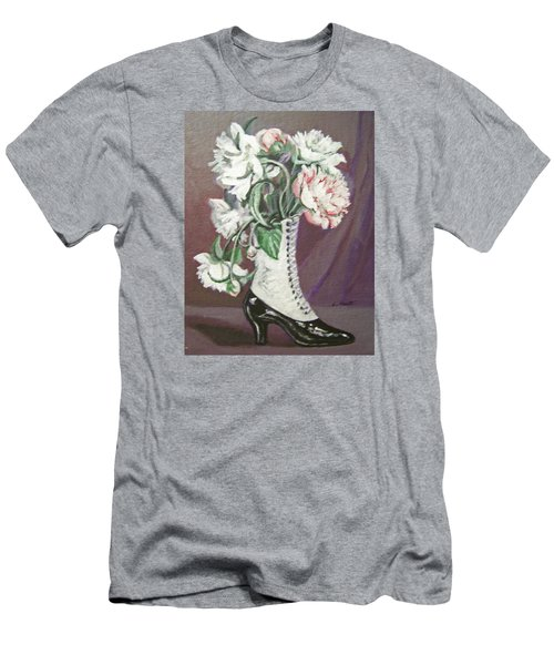 Booted Peonies Men's T-Shirt (Slim Fit) by Laura Aceto