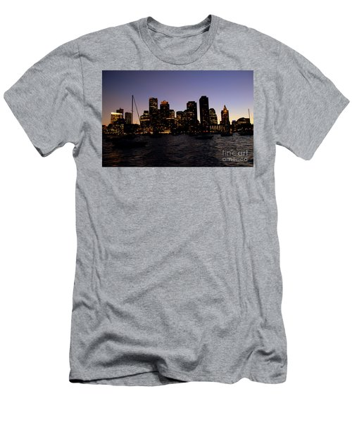 Boston At Night Men's T-Shirt (Athletic Fit)