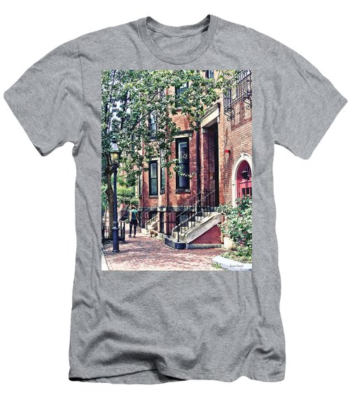 Boston Ma - Walking The Dog On Mount Vernon Street Men's T-Shirt (Athletic Fit)