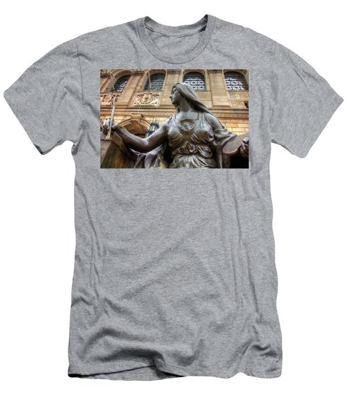 Men's T-Shirt (Slim Fit) featuring the photograph Boston Public Library Lady Sculpture by Joann Vitali