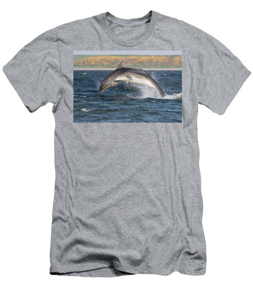 Men's T-Shirt (Athletic Fit) featuring the photograph Bottlenose Dolphins - Moray Firth Scotland #47 by Karen Van Der Zijden
