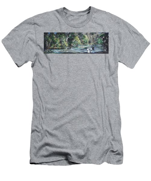 Men's T-Shirt (Athletic Fit) featuring the painting Boy And Geese At The Creek. by Ryn Shell