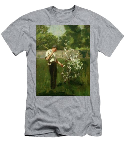 Men's T-Shirt (Slim Fit) featuring the painting Boy With A Grass Rake by Henry Scott Tuke