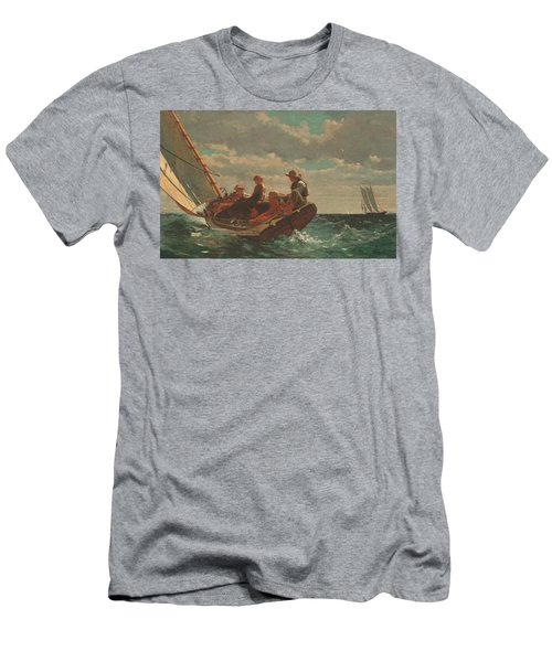 Men's T-Shirt (Slim Fit) featuring the painting Breezing Up A Fair Wind - 1876 by Winslow Homer