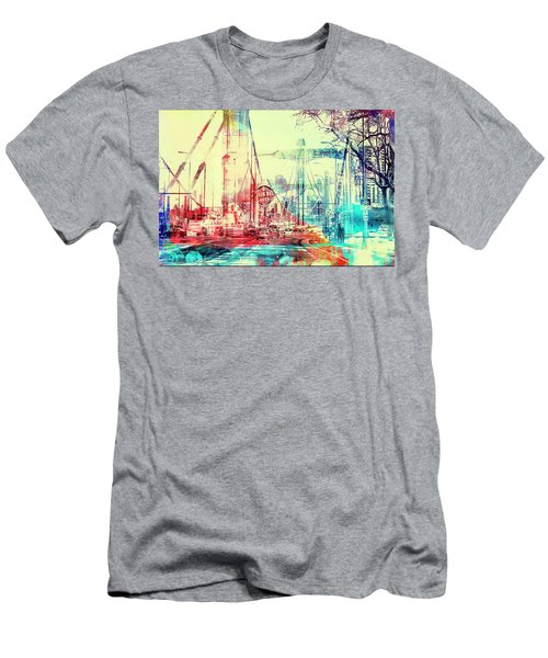 Men's T-Shirt (Slim Fit) featuring the photograph Bridge And Grain Belt Beer Sign by Susan Stone