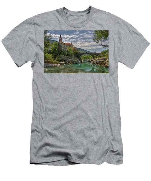 Men's T-Shirt (Athletic Fit) featuring the photograph Bridge Over The Soca - Kanal Slovenia by Stuart Litoff
