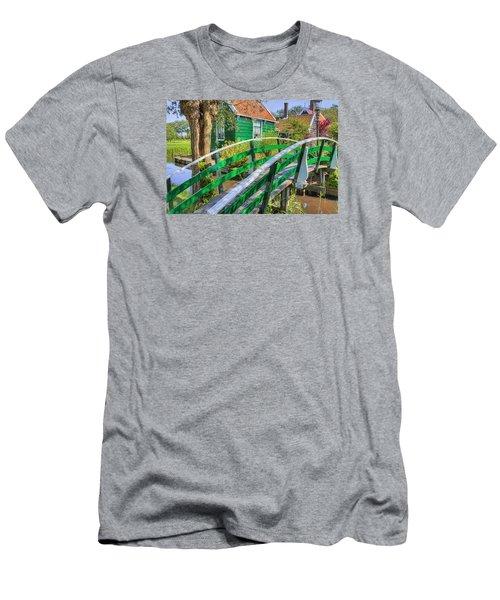 Bridge To The Village Men's T-Shirt (Slim Fit) by Nadia Sanowar