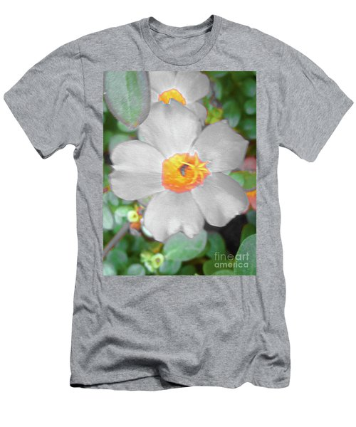 Bright White Vinca With Soft Green Men's T-Shirt (Athletic Fit)