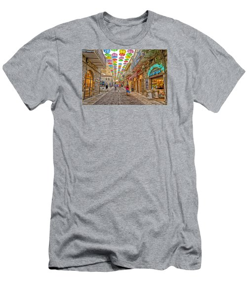 Brollies Over Jerusalem Men's T-Shirt (Slim Fit) by Uri Baruch