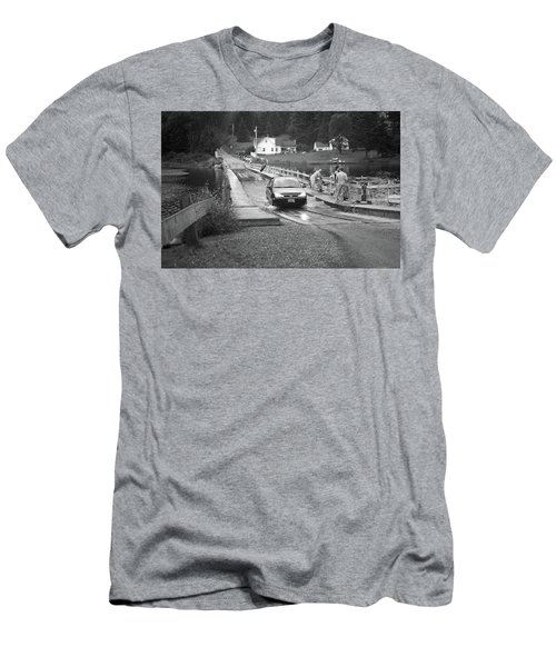 Men's T-Shirt (Slim Fit) featuring the photograph Brookfield, Vt - Floating Bridge 3 Bw by Frank Romeo