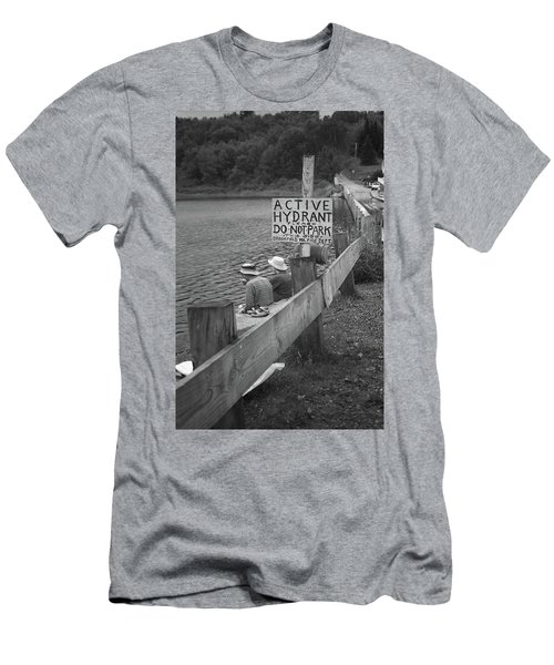 Men's T-Shirt (Slim Fit) featuring the photograph Brookfield, Vt - Floating Bridge 4 Bw by Frank Romeo