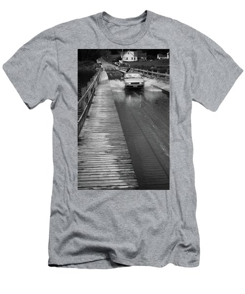 Men's T-Shirt (Slim Fit) featuring the photograph Brookfield, Vt - Floating Bridge Bw by Frank Romeo