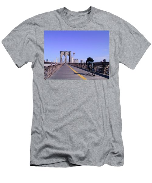 Brooklyn Bridge Bicyclist Men's T-Shirt (Athletic Fit)